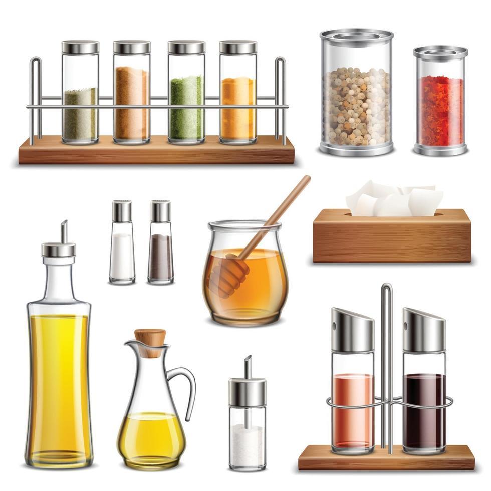condimentos frascos de especias cocina hierbas cocina conjunto realista vector