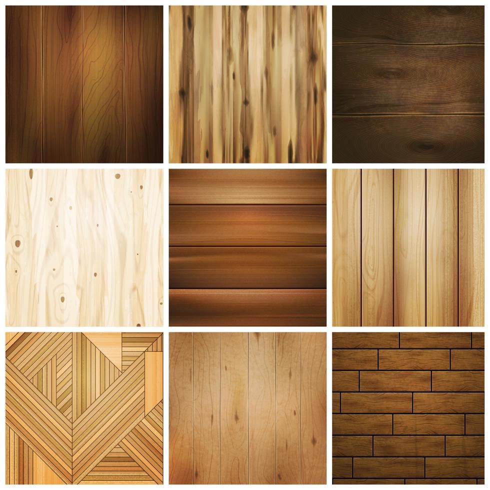 realistic wooden floor texture set vector