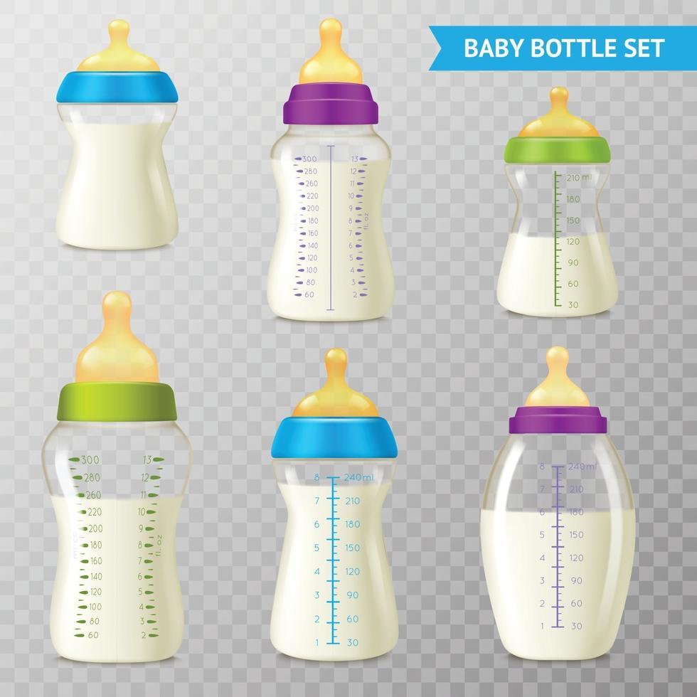 realistic baby bottle set vector
