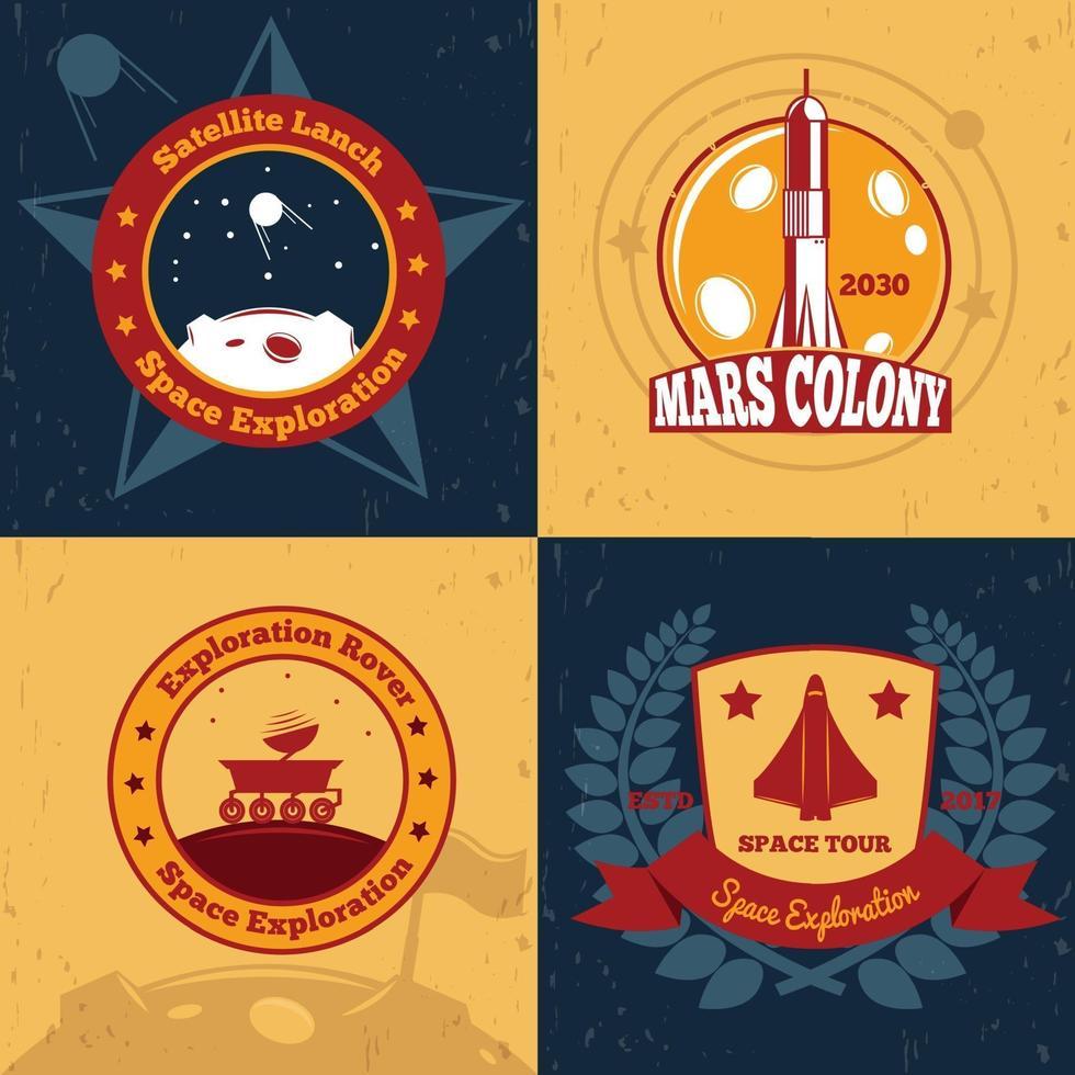 space exploration emblems color 2x2 vector