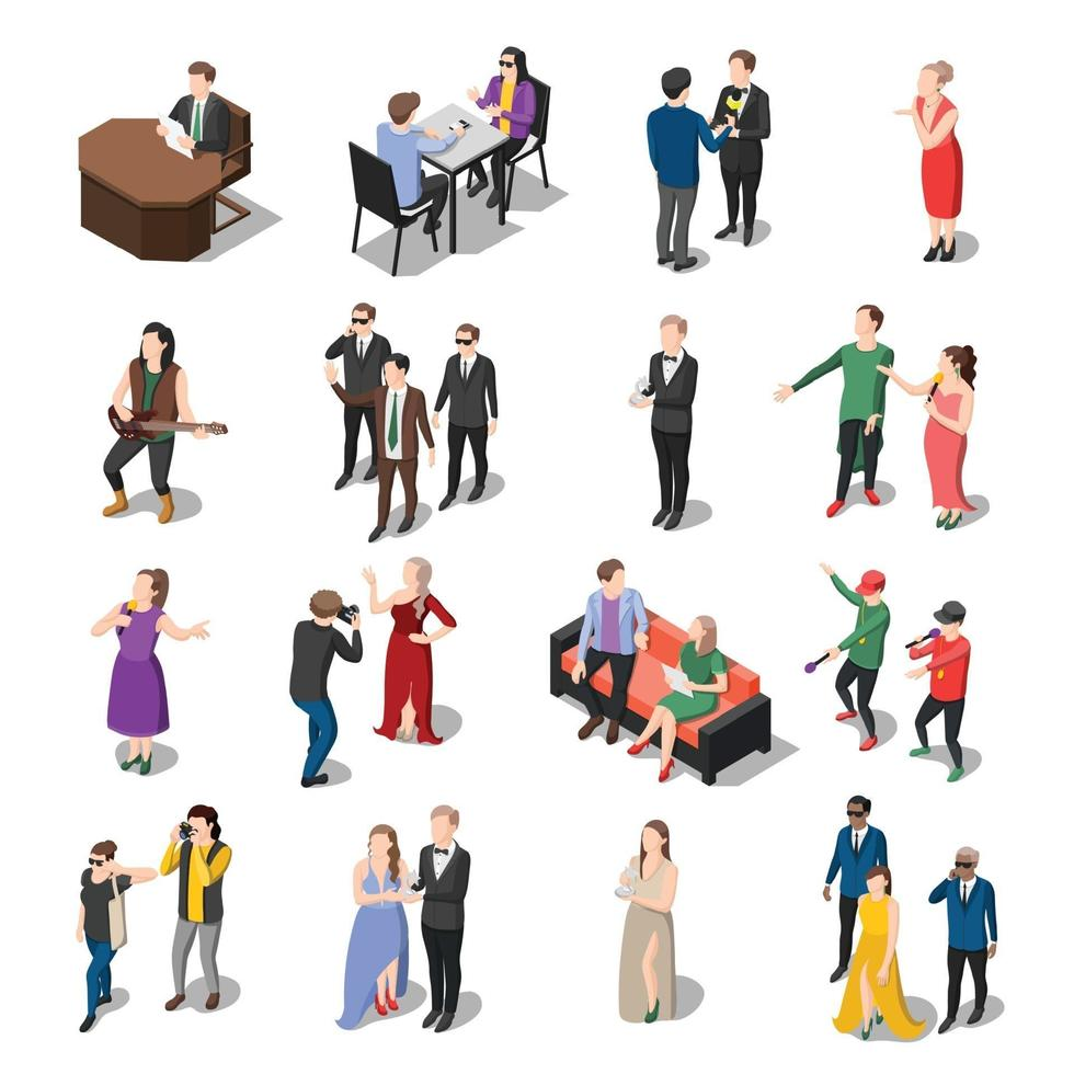 Talents and awards TV shows isometric icons vector