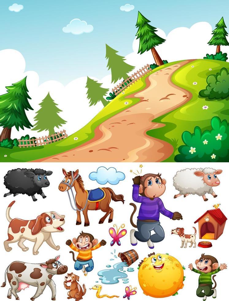 Escena del parque natural con personajes y objetos de dibujos animados aislados vector