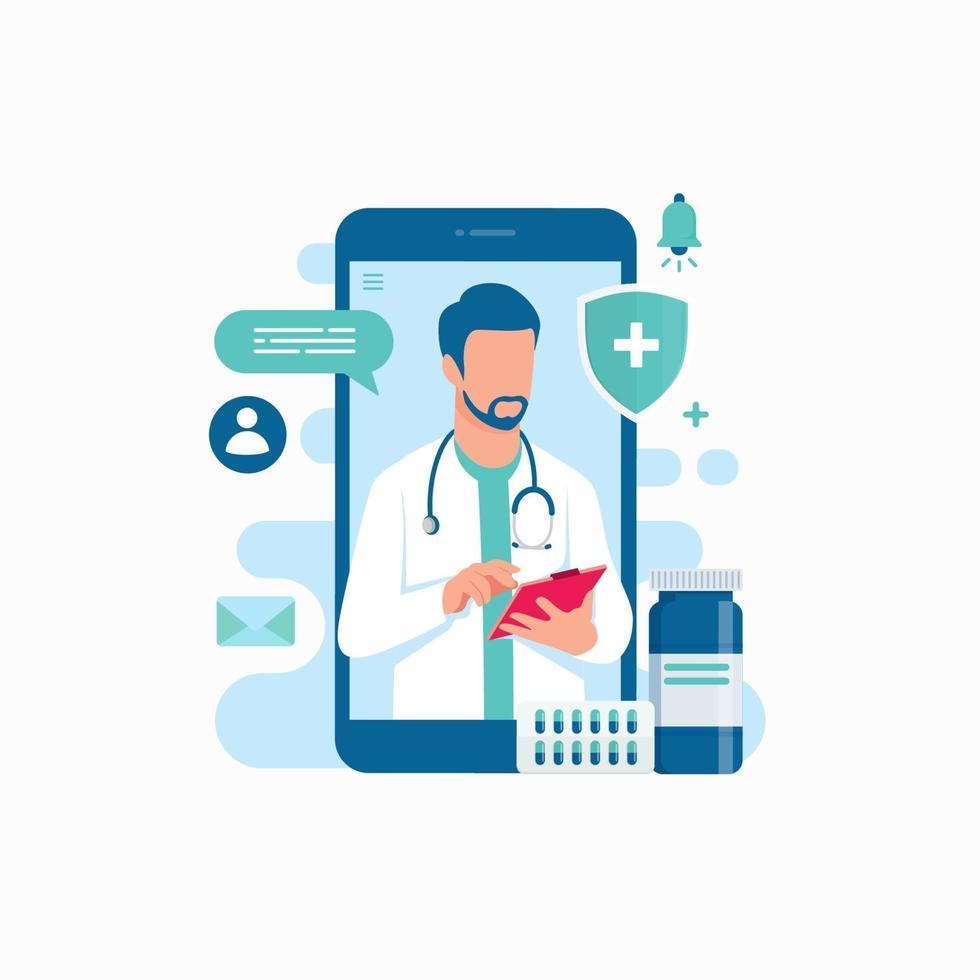 Ilustración de vector de concepto de diseño de aplicación de teléfono inteligente de consulta médica de soporte médico en línea