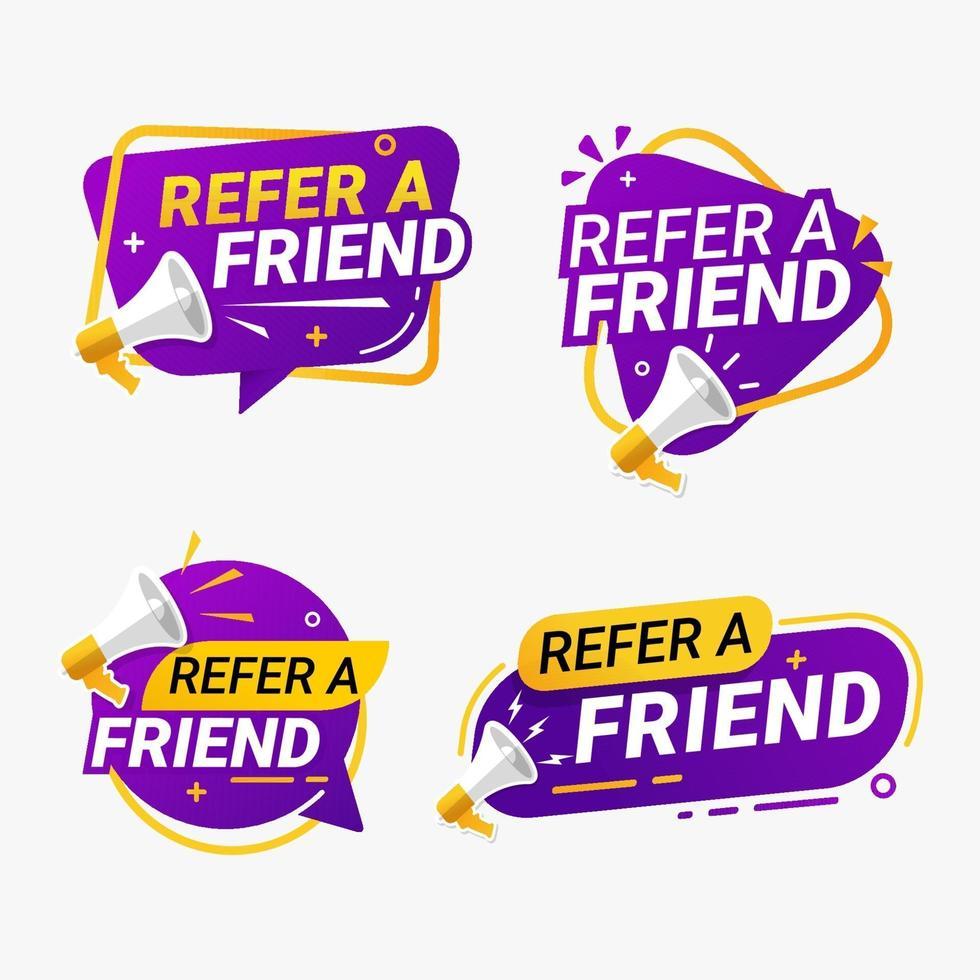Refer a friend banner label badge set vector illustration