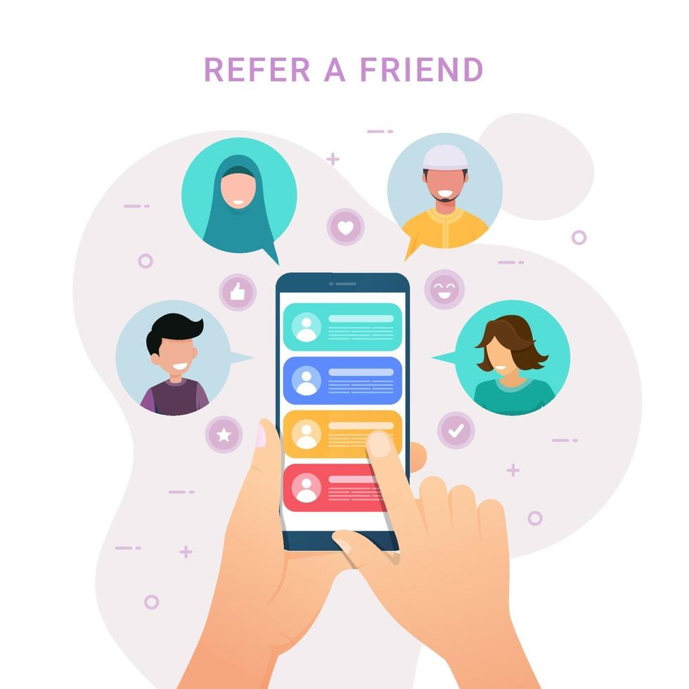 Hands holding phone with contacts for Refer a friend design concept vector