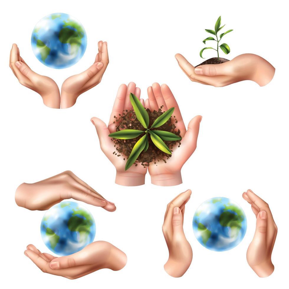 realistic hands ecology symbol set vector