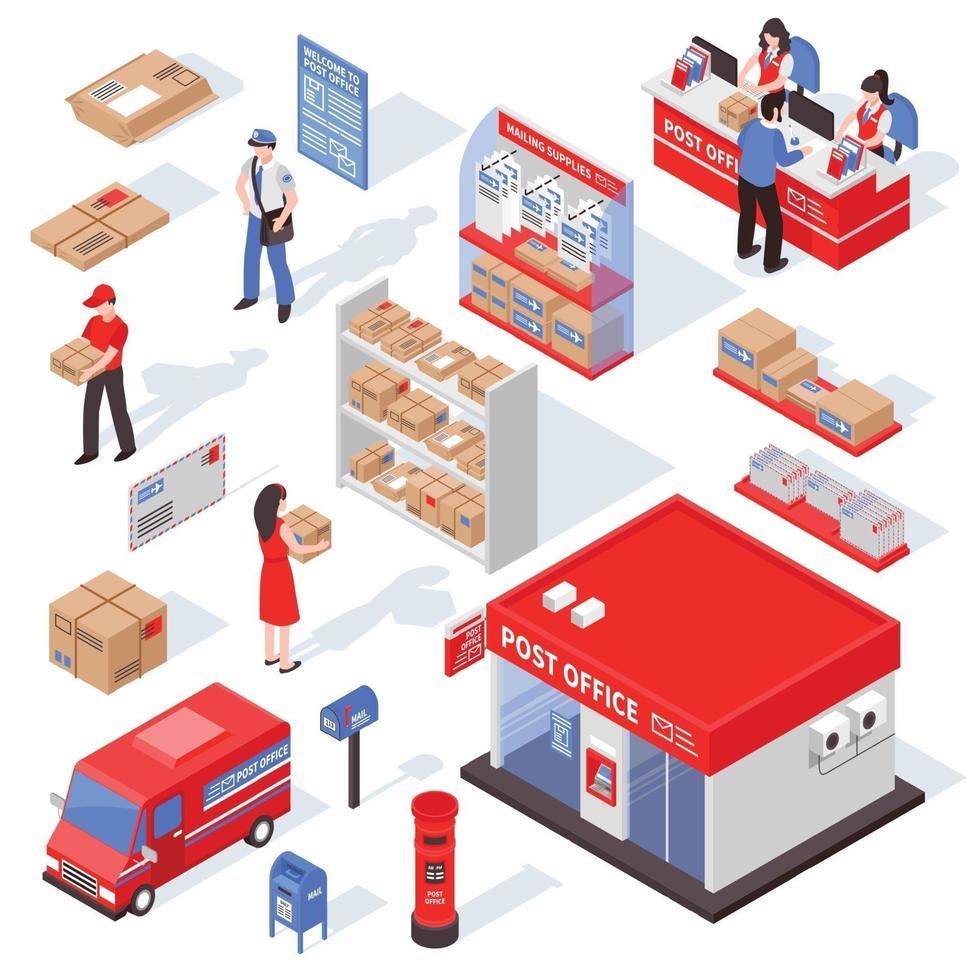 isometric post office postman set vector