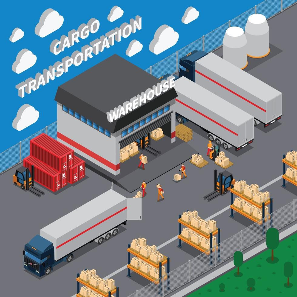 truck vehicle isometric composition vector
