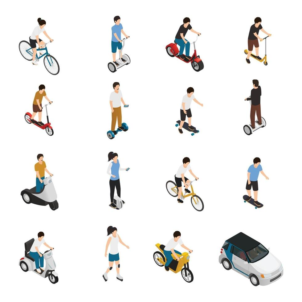 personal eco green transportation isometric people vector