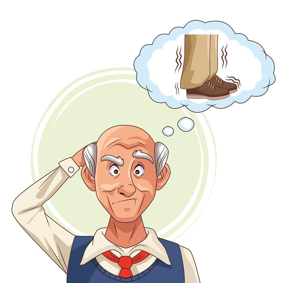 Anciano y paciente con enfermedad de Alzheimer pensando en zapatos vector