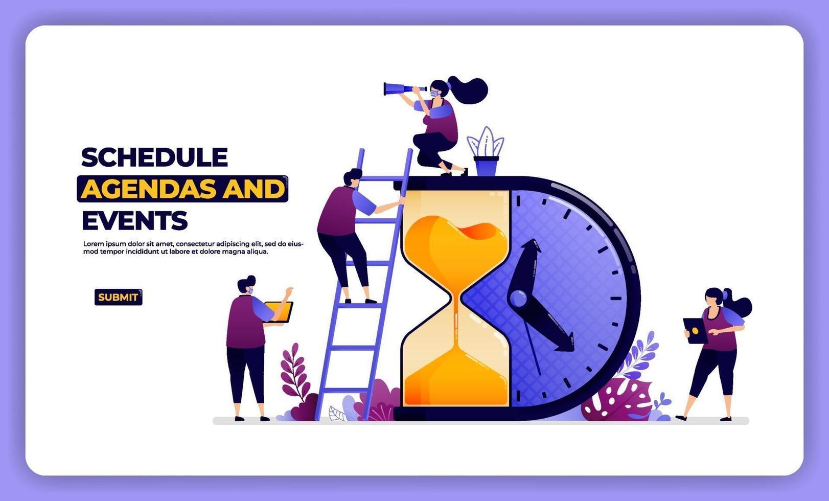 illustration design of schedule agenda and effect. managing working and holiday. designed for landing page, banner, website, web, poster, mobile apps, homepage, social media, flyer, brochure, ui ux vector