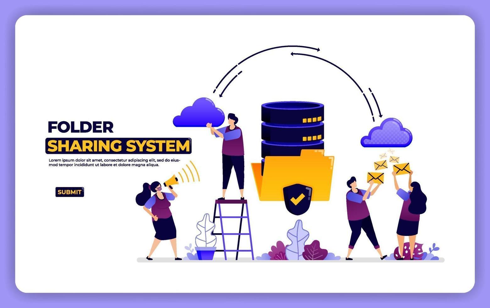 website design of folder sharing system. database system data sharing management. designed for landing page, banner, website, web, poster, mobile apps, homepage, social media, flyer, brochure, ui ux vector