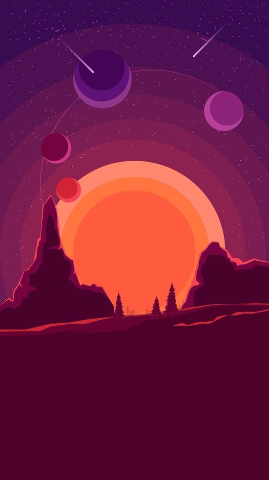 paisaje espacial con puesta de sol en morado, naturaleza en otro planeta. vector