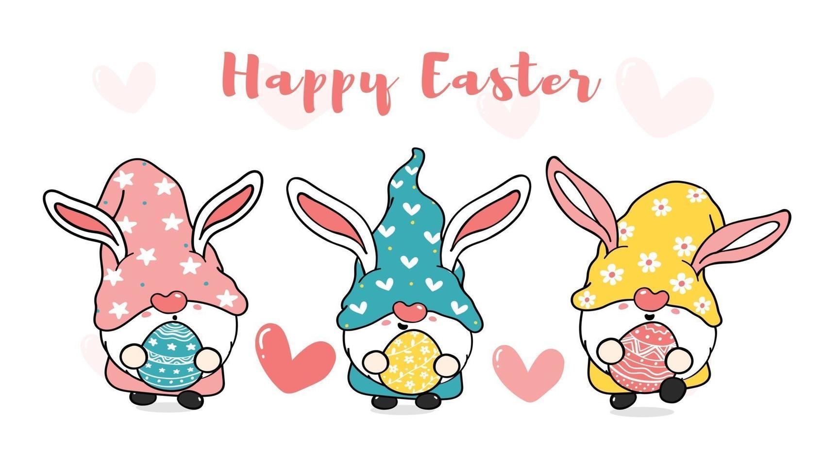 Tres lindos gnomos de conejito de pascua con orejas de conejo, banner de vector de dibujos animados de feliz pascua