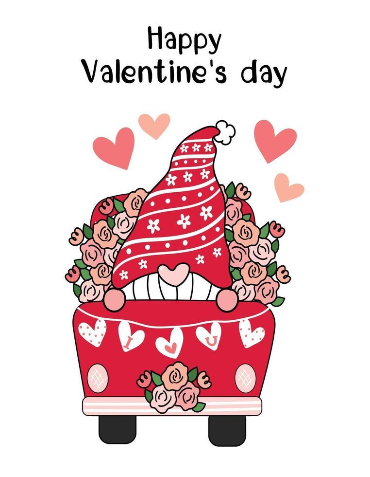 Gnomo de San Valentín en camión de flores rojas con corazón te amo bandera, idea de arte de clip de vector plano de dibujos animados lindo para tarjeta de San Valentín, cosas imprimibles