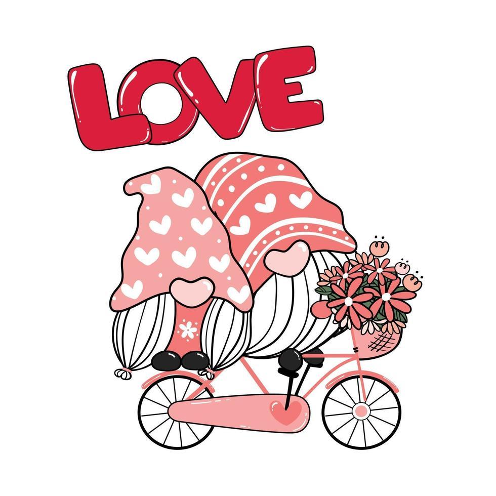 dos gnomos románticos de san valentín pareja en bicicleta rosa amor clip art, vector de dibujos animados de amor feliz