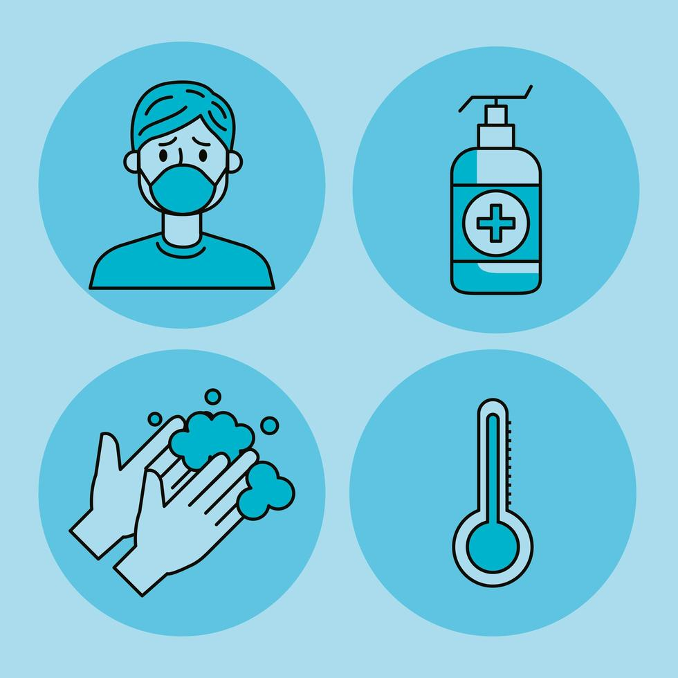 set of covid 19 pandemic icons vector