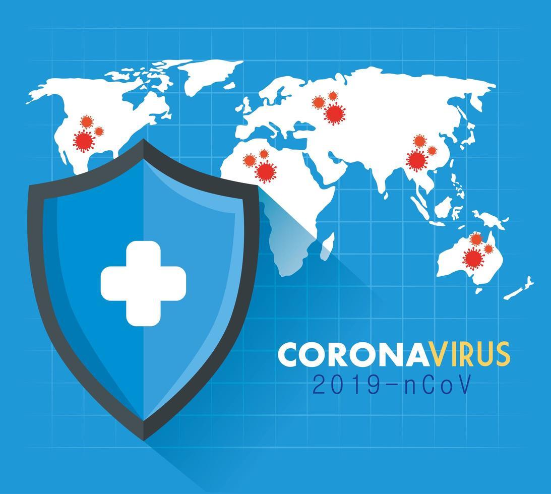 mapa mundial con la ubicación de la enfermedad covid 19 vector