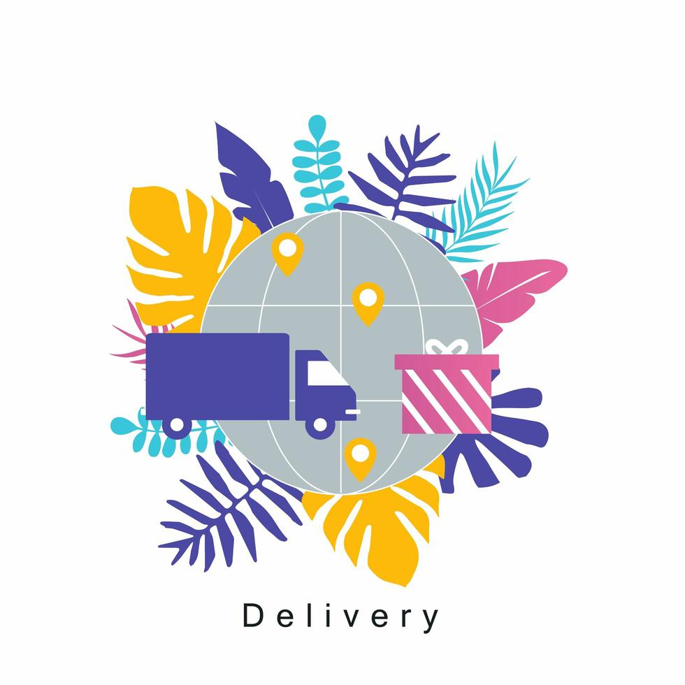 Truck delivery service concept vector
