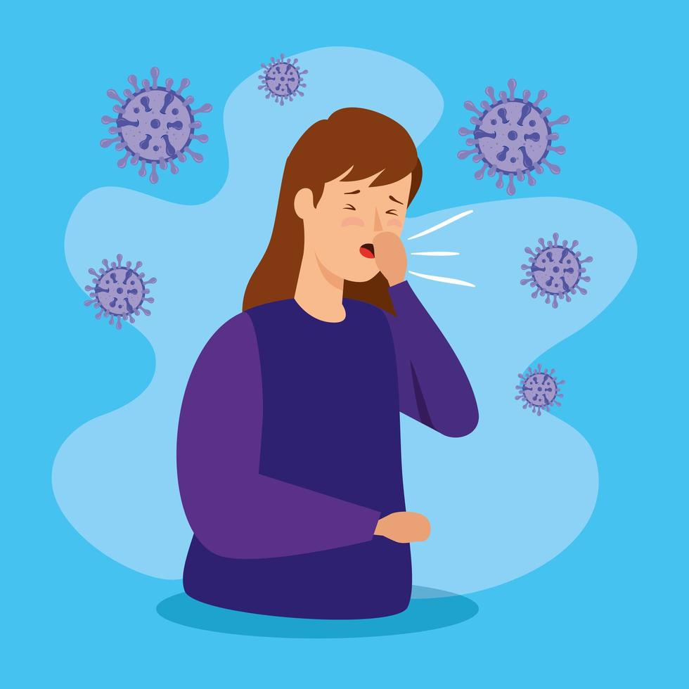 woman sneezing with covid 19 disease vector