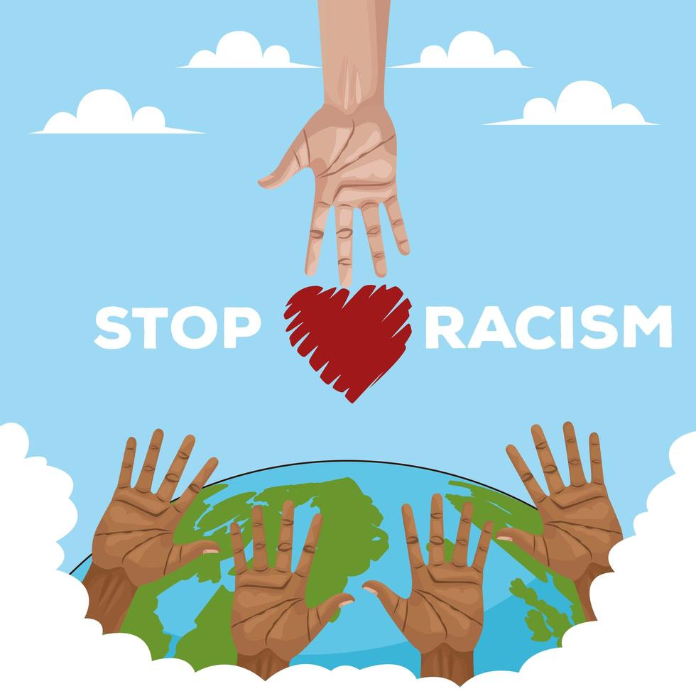 interracial hands reaching across planet, stop racism campaign vector