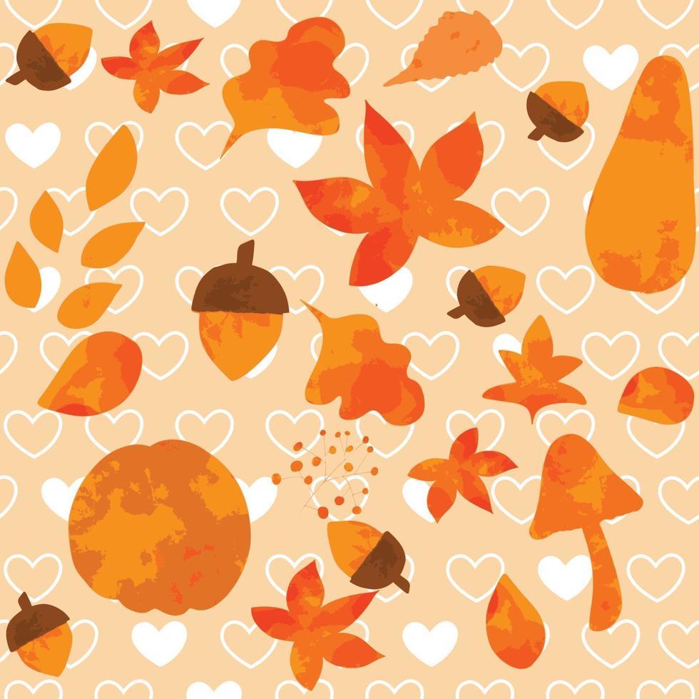 Vintage cute seamless orange leaves vector