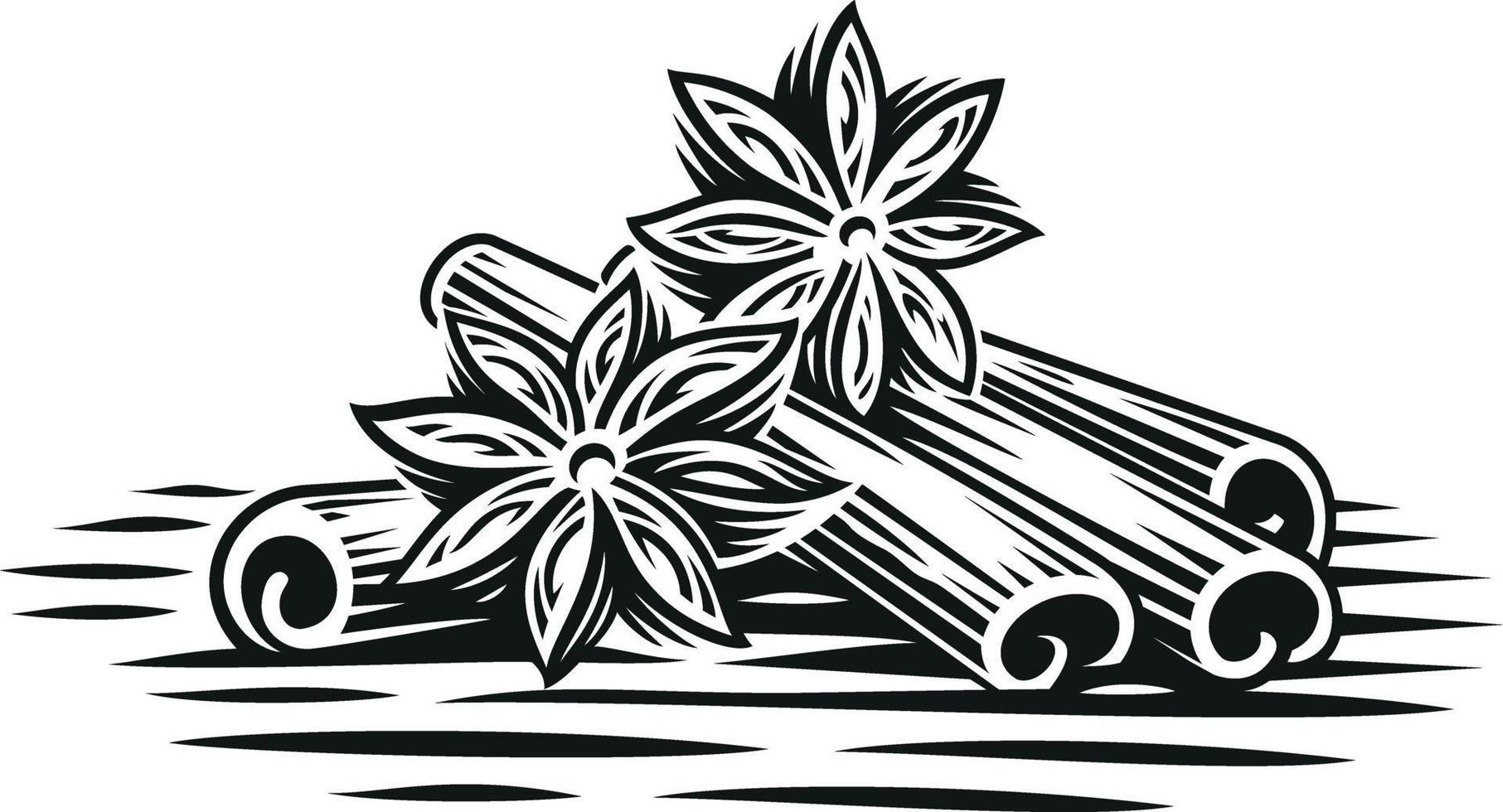 Una ilustración vectorial en blanco y negro de ramas de canela en estilo de grabado sobre fondo blanco. vector