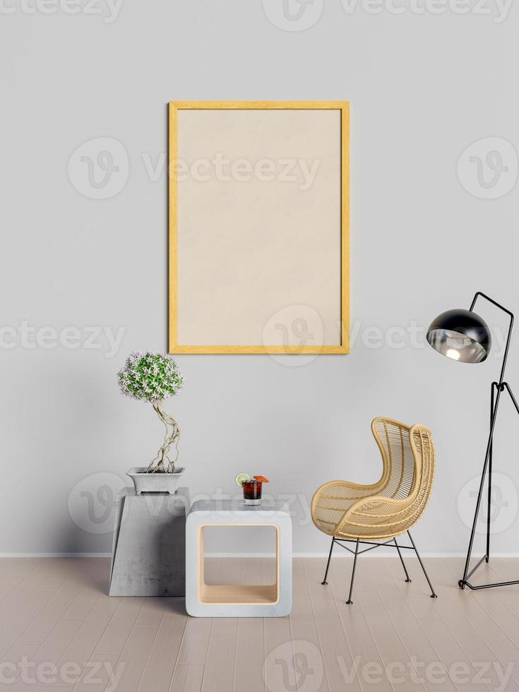 3D rendering in mock up poster in living room photo