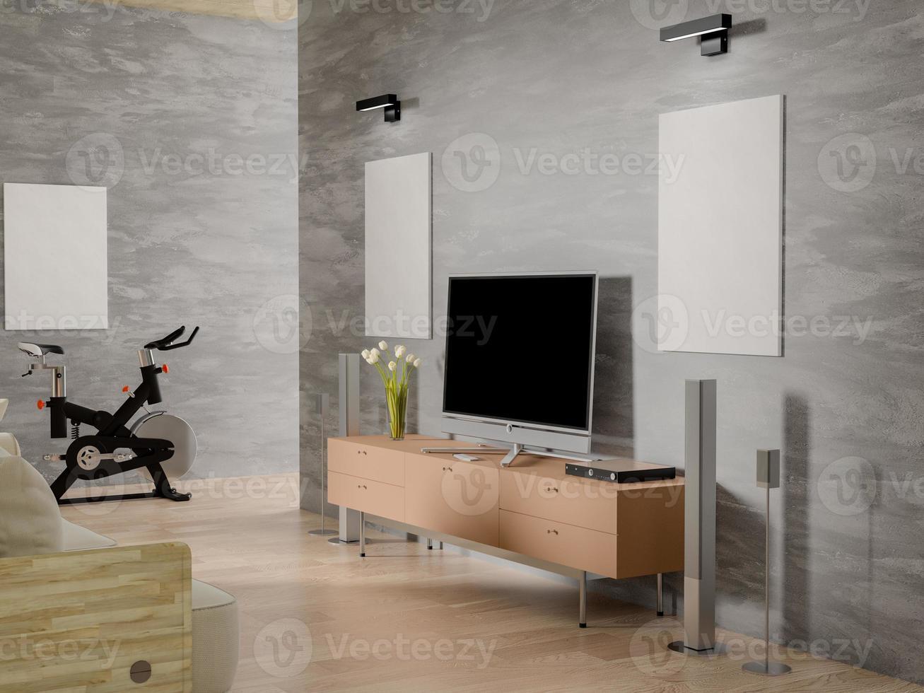 Representación 3D de dos carteles de maquetas vacíos en la sala de estar foto