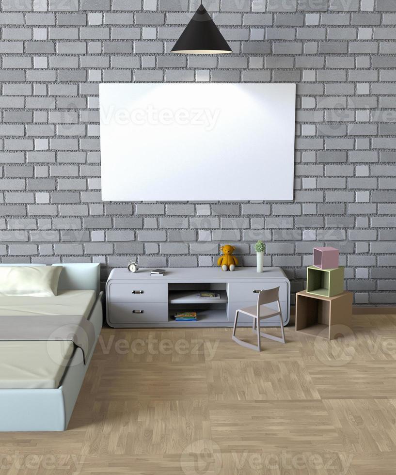Representación 3D de un cartel simulado en un dormitorio foto