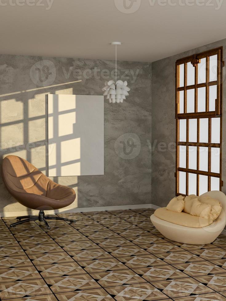 Render 3D del cartel en blanco en la sala de estar moderna foto
