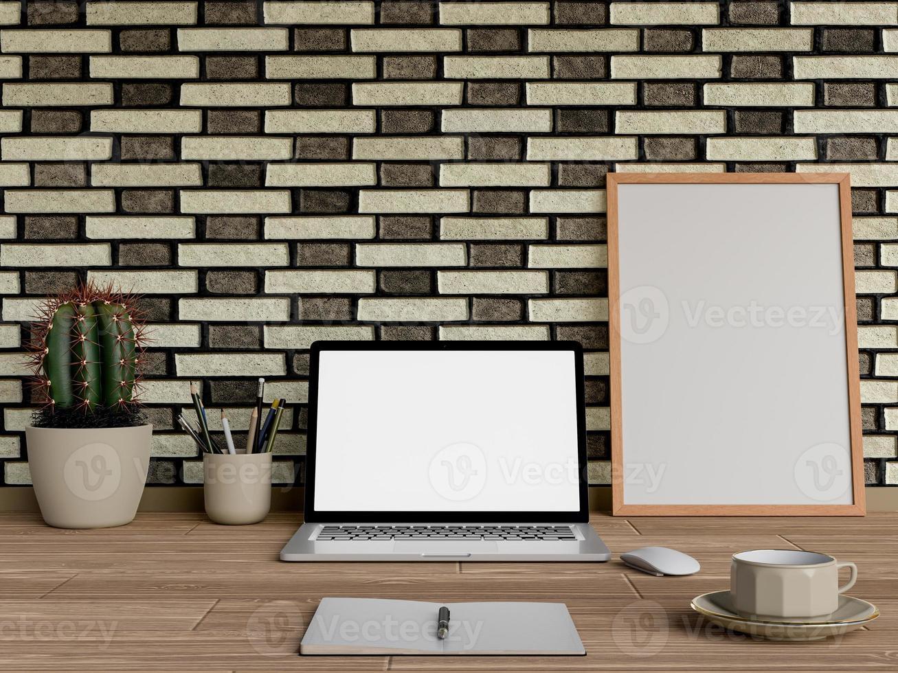 Simulacros de póster en la mesa con ordenador portátil y café foto