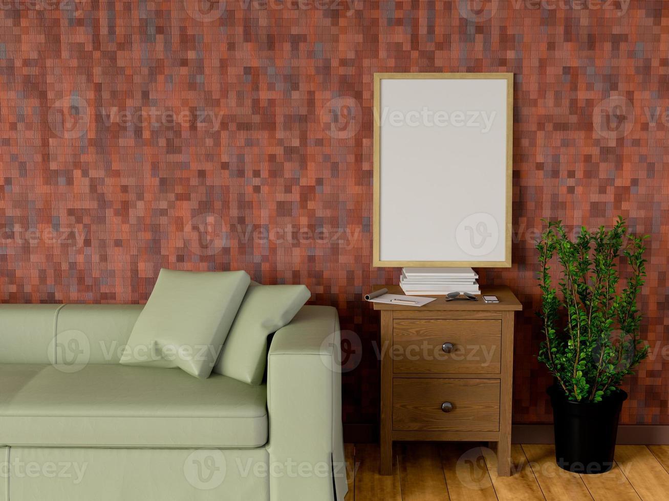 simulacro de cartel en la sala de estar, representación 3d foto