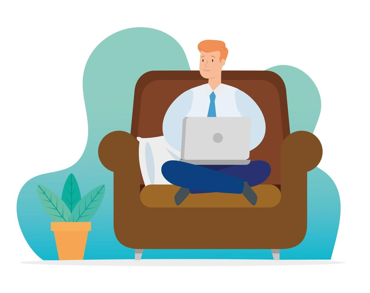 man working at home with laptop on couch vector