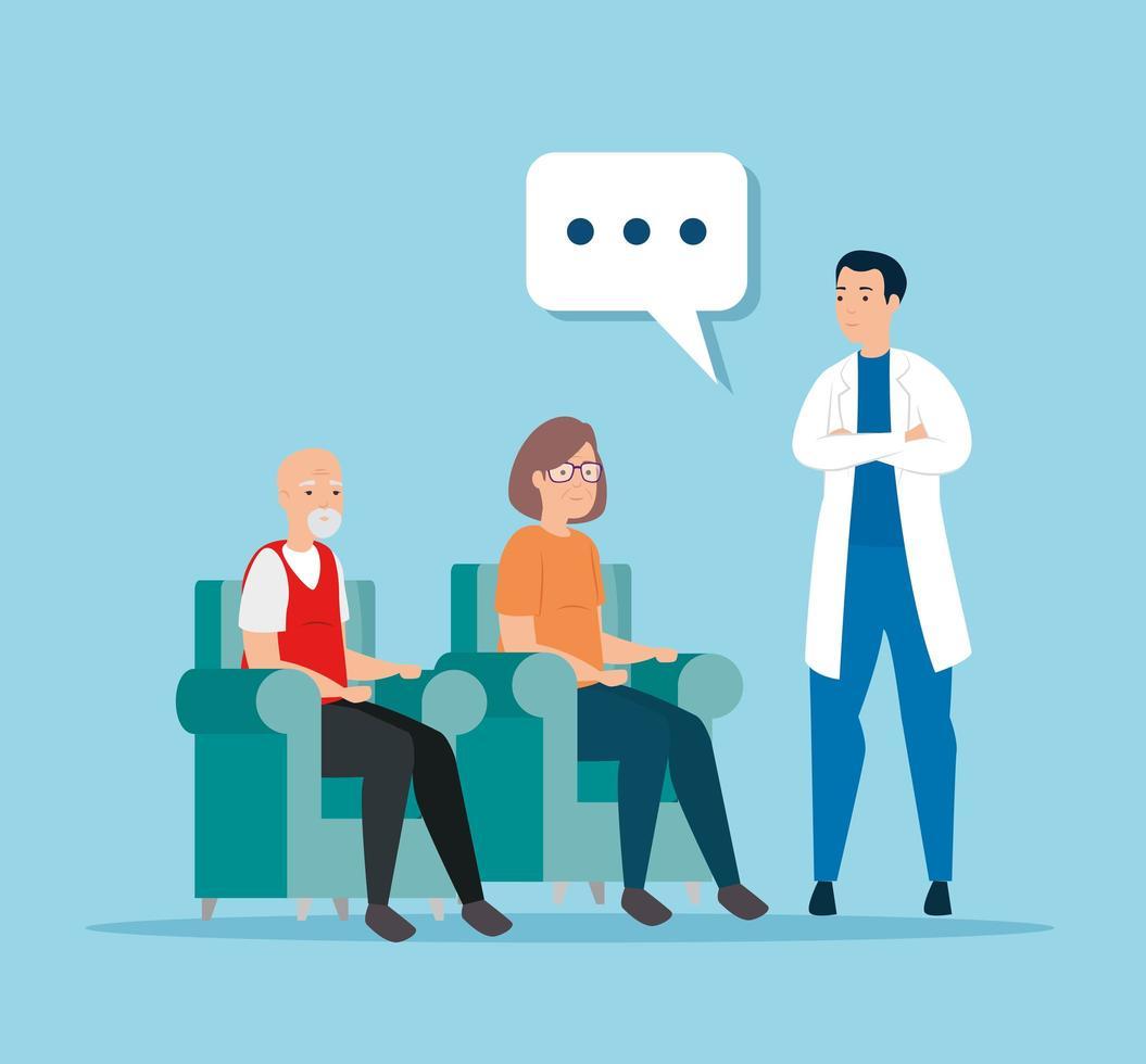 linda pareja de ancianos hablando con un médico vector