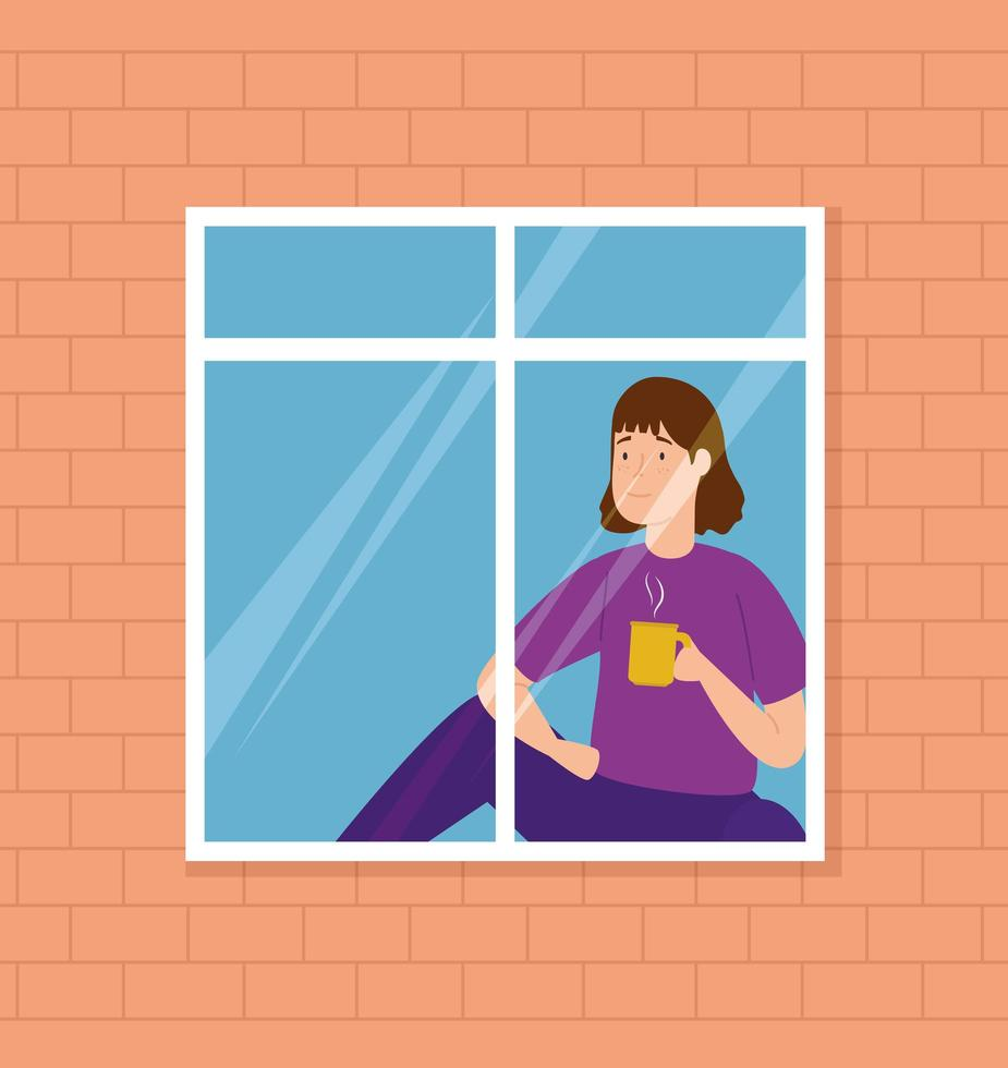 campaign stay at home with woman on the window vector