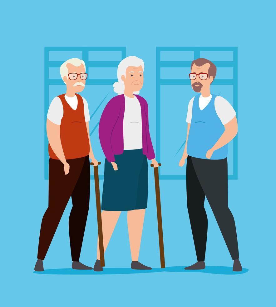 grupo de personas mayores avatar personaje vector