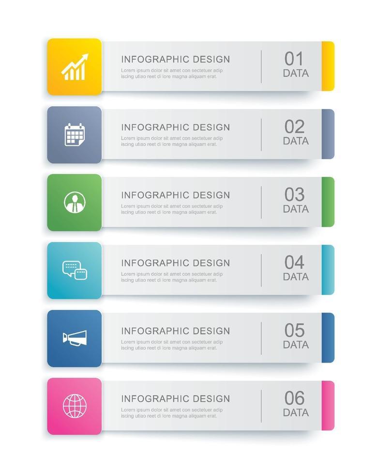 Diseño de plantilla de índice de pestaña de infografías de 6 datos. ilustración vectorial resumen de antecedentes. se puede utilizar para el diseño de flujo de trabajo, paso empresarial, banner, diseño web. vector