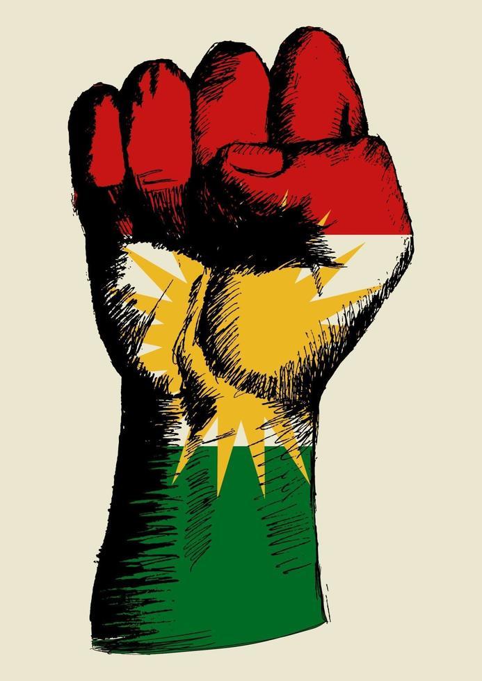 Ilustración de boceto de un puño con la insignia del kurdistán. espíritu de una nación vector