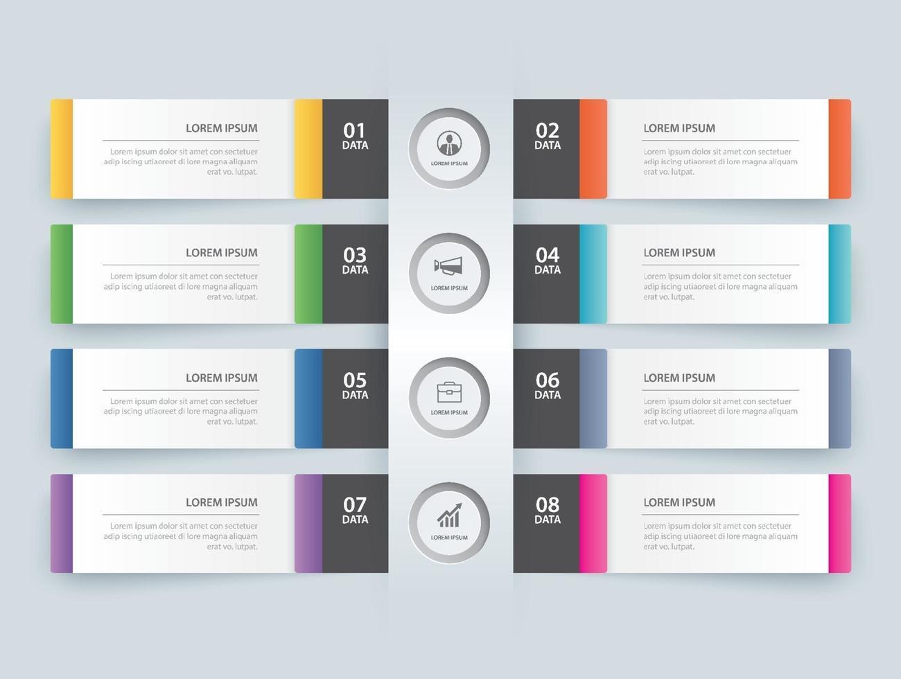 Plantilla de índice de papel de la pestaña de infografías de 8 datos. ilustración vectorial resumen de antecedentes. se puede utilizar para el diseño de flujo de trabajo, paso empresarial, banner, diseño web. vector