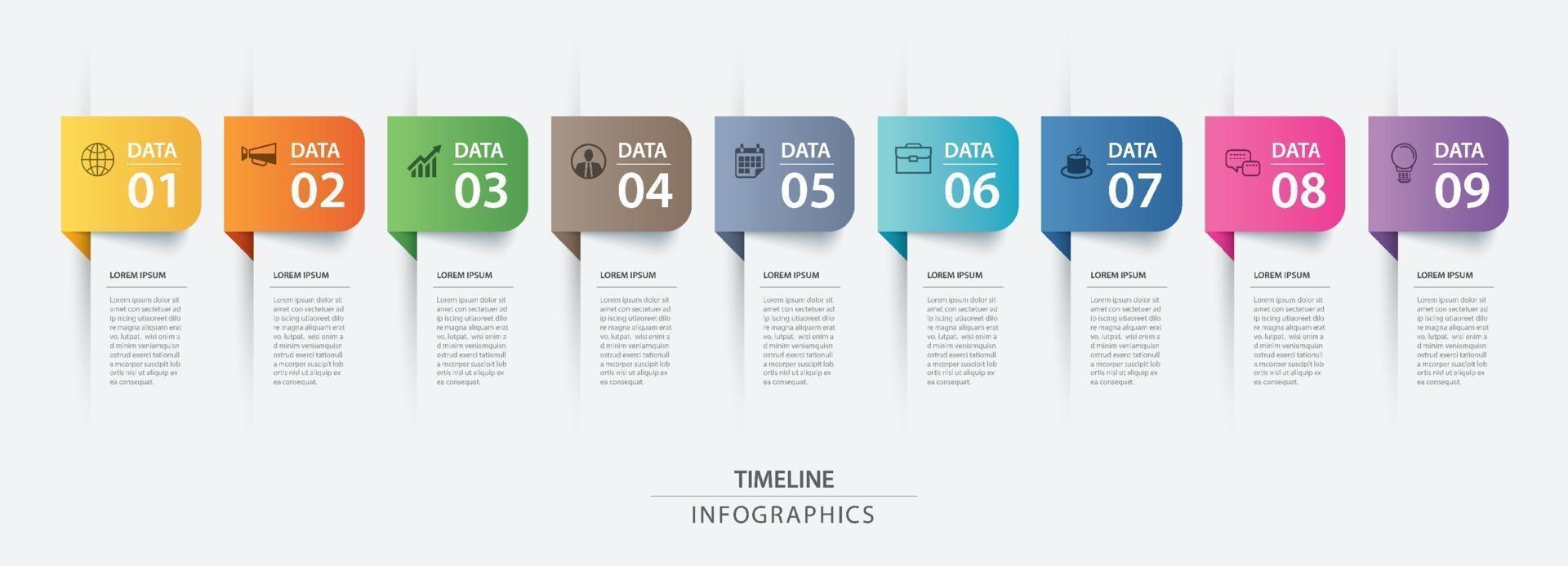 Plantilla de índice de papel de pestaña de infografías de 9 datos. ilustración vectorial resumen de antecedentes. se puede utilizar para el diseño de flujo de trabajo, paso empresarial, banner, diseño web. vector