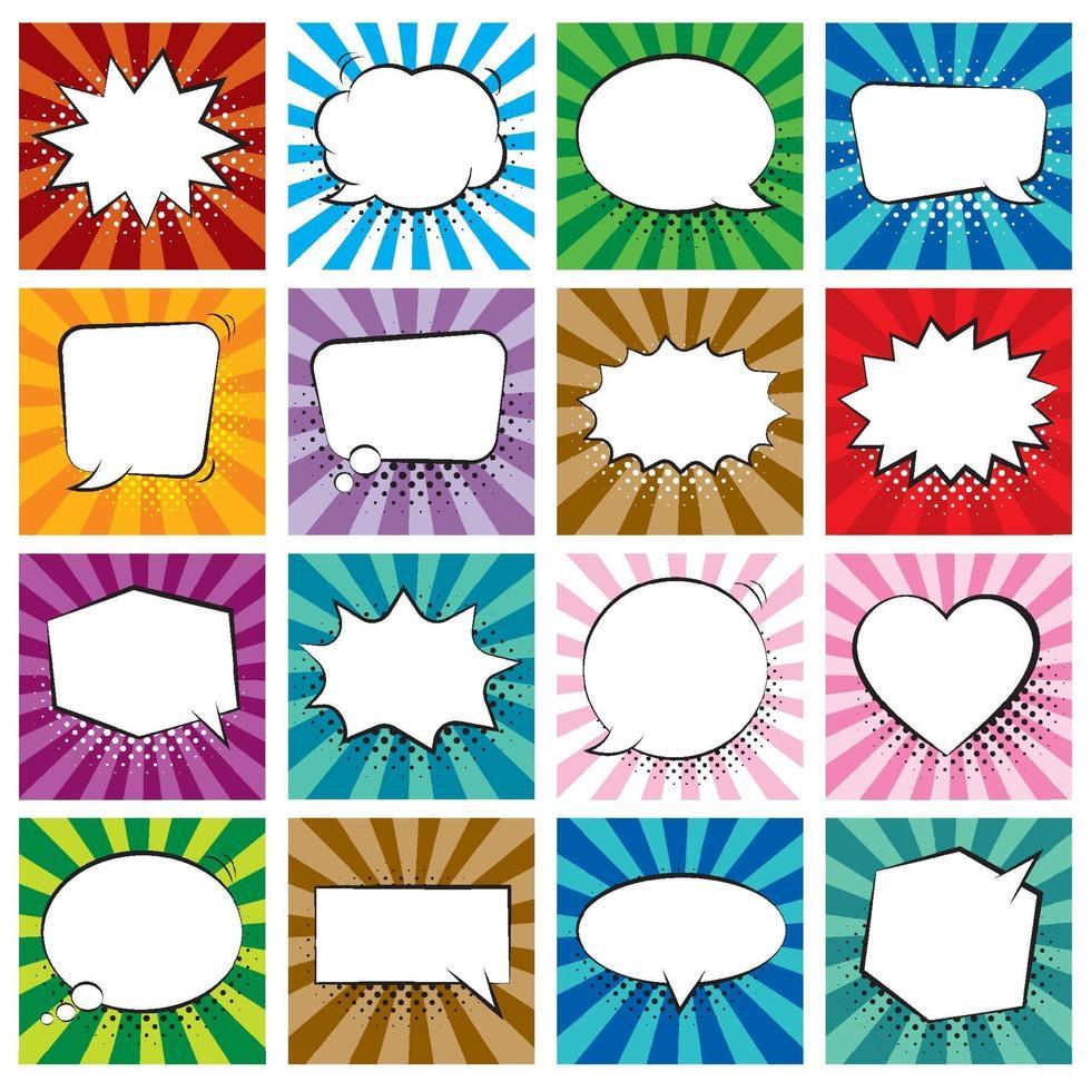 conjunto de burbujas de discurso cómico sobre fondo de colores y sombras de medios tonos. vector