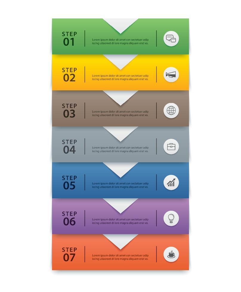 Plantilla de índice de papel de pestaña de infografías de 7 datos. ilustración vectorial resumen de antecedentes. se puede utilizar para el diseño de flujo de trabajo, paso empresarial, banner, diseño web. vector