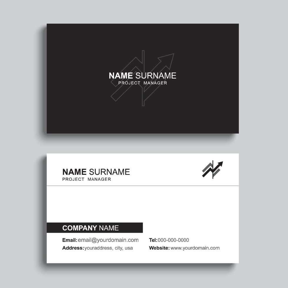 Minimal business card print template design. Black color and simple clean layout. vector