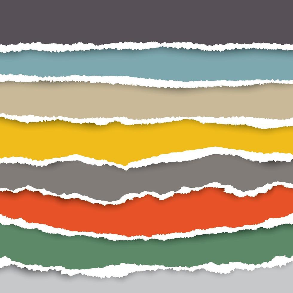 A set of torn pieces of paper in many colors. Use as a background and for adding text for all designs. vector