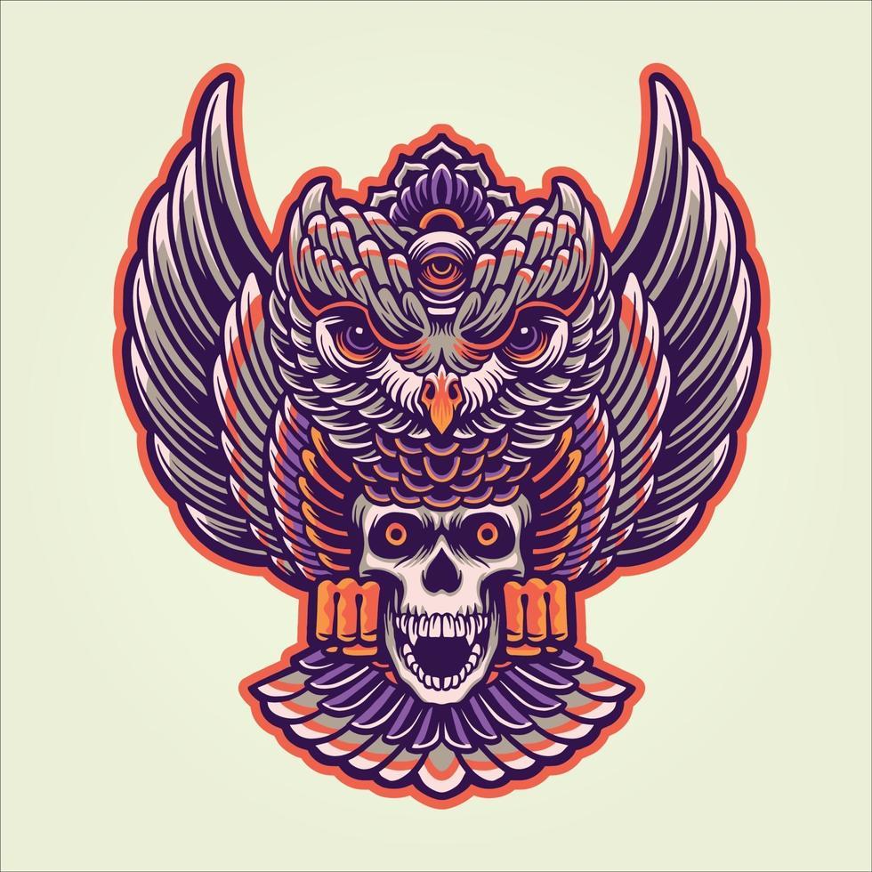 Owl Mystical Skull Illustration vector