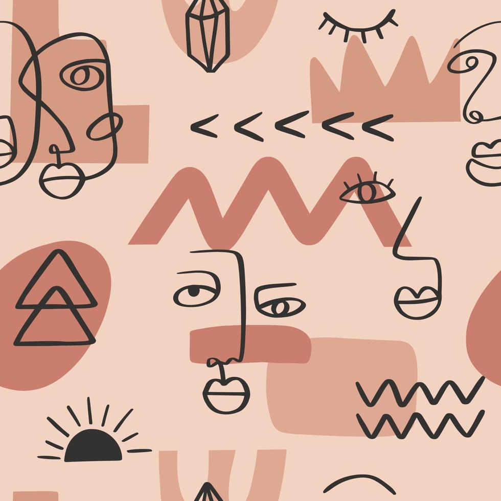 Abstract one line continuous drawing faces seamless pattern. Minimalism art, aesthetic contour. Continuous line couple tribal portrait. Modern vector illustration in the ethnic style