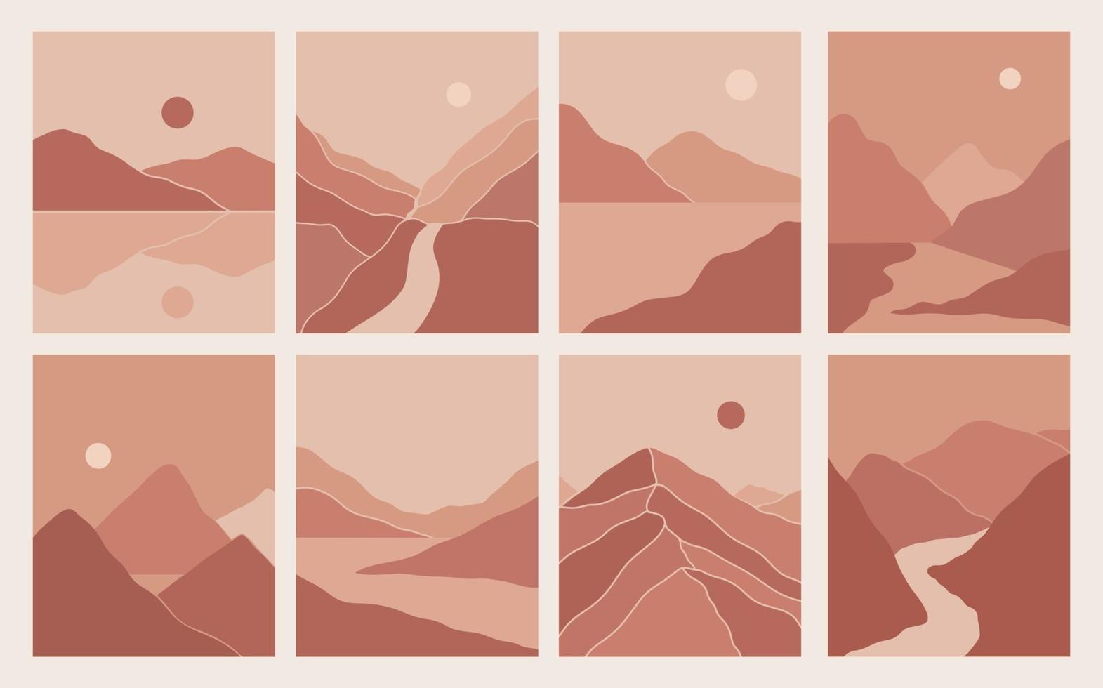 Modern minimalist abstract mountain landscapes aesthetic illustrations. Bohemian style wall decor. Collection of contemporary artistic prints vector