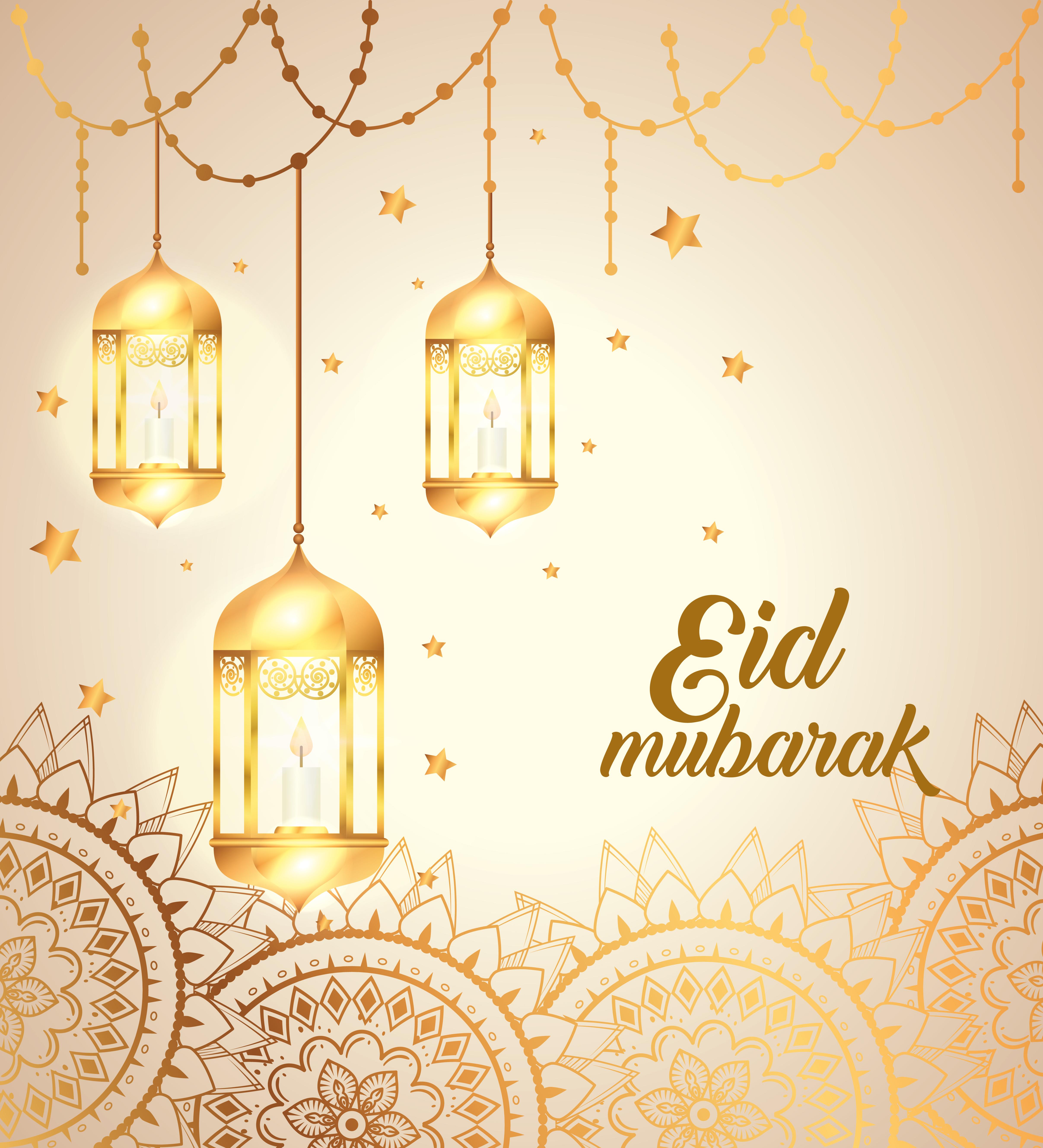 Eid Mubarak Poster With Lanterns Hanging And Mandalas 1997931 Download Free Vectors Clipart Graphics Vector Art