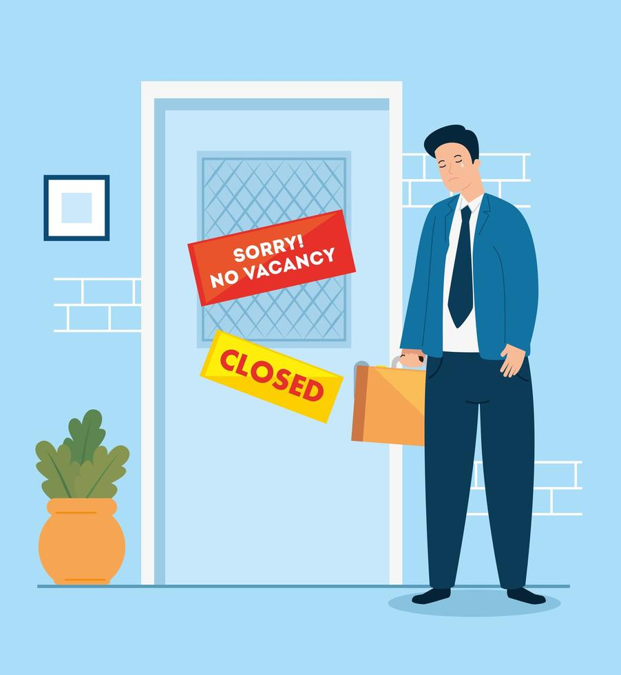 Sad, unemployed businessman vector